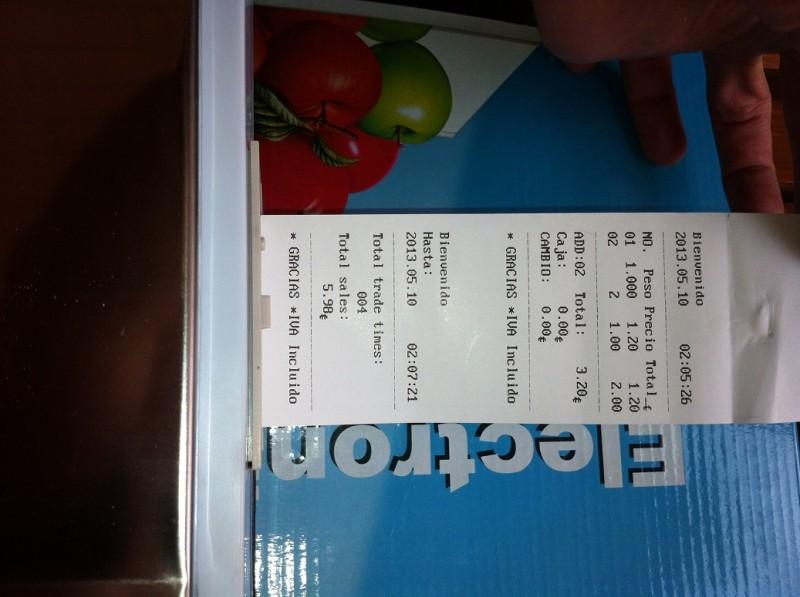 Bascula registradora de ticket admite precio dirct